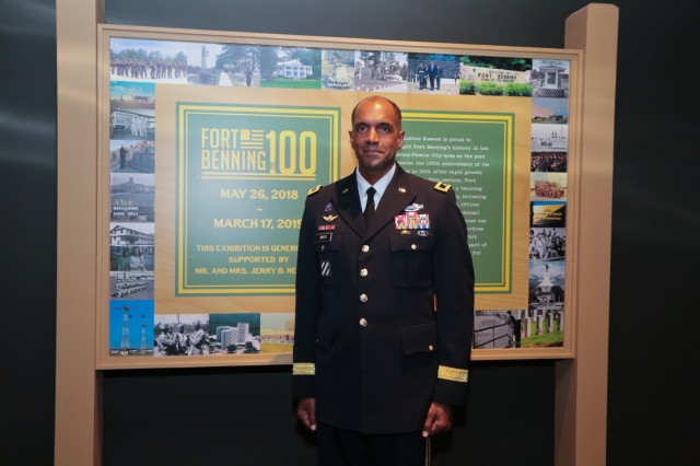 "COLUMBUS, Ga. (June 1, 2018) - Maj. Gen. Gary M. Brito, Maneuver Center of Excellence and Fort Benning commanding general, attends the opening of the ""Fort Benning at 100"" exhibition. In commemoration of the 100th anniversary of Fort Benning, the Columbus Museum in Columbus, Georgia, opened a new historic exhibition May 31 during a reception event. (U.S. Army photo by Markeith Horace, Maneuver Center of Excellence, Fort Benning Public Affairs)"