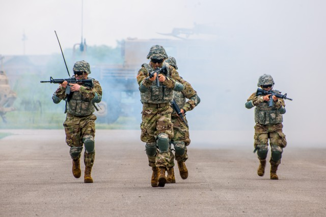 Trainees in Company C, 35th Engineer Battalion, begin a breaching demonstration. The demonstration is used to showcase the skill sets learned by the Soldiers during their One Station Unit Training at Fort Leonard Wood.