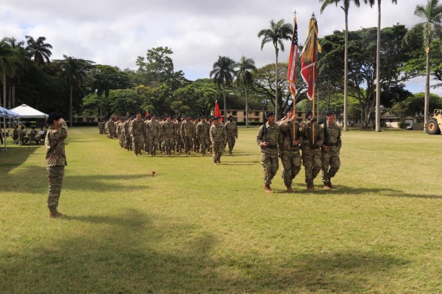 "The 84th Engineer Battalion, 130th Engineer Brigade, 8th Theater Sustainment Command hosted a change of command ceremony at Hamilton Field, Schofield Barracks on June 1, 2018. The ""Never Daunted!"" battalion said farewell to outgoing commander Lt. Col. Michael A. Busby and welcomed Lt. Col. Reyn Mann"