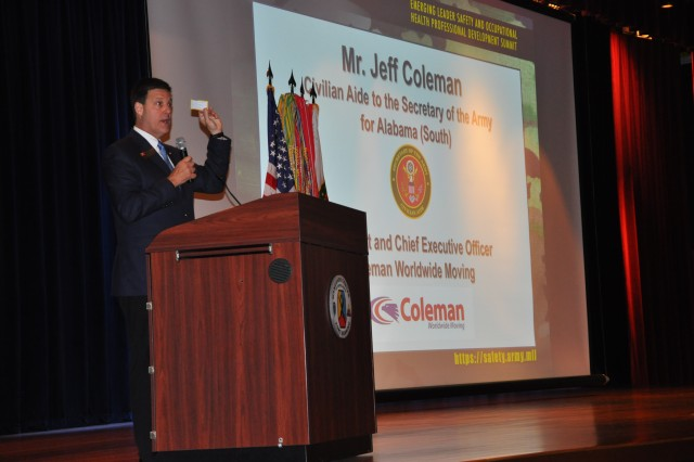 FORT BENNING, Georgia (June 4, 2018) --Civilian aide to the secretary of the Army for Alabama (South), Jeff Coleman, served as the keynote speaker for today's kickoff of the 2018 Army Safety and Occupational Health Emerging Leader Summit.