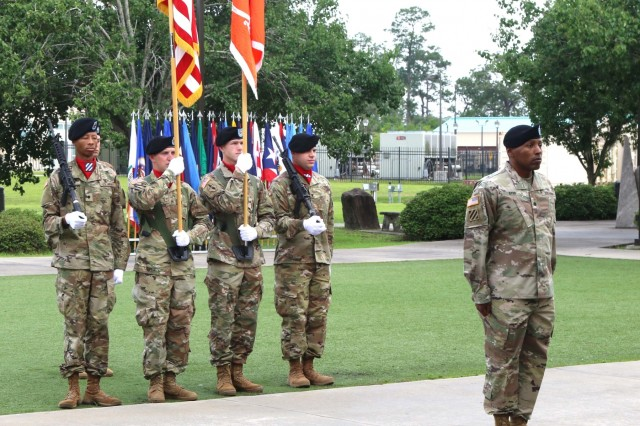 Lt. Col. Christopher Byrd, commander, 123rd Division Signal Battalion, 3rd Infantry Division presents the colors during a deactivation ceremony at Fort Stewart, Georgia, May 31, 2018. The 123rd DSB completed an 18- month Department of the Army and U.S. Forces Command tactical signal pilot program that improved tactical signal force capabilities and provided uninterrupted mission command for units throughout the division. (U.S. Army photo by Sgt. Joseph Truckley, 50th Public Affairs Detachment, 3rd Infantry Division)