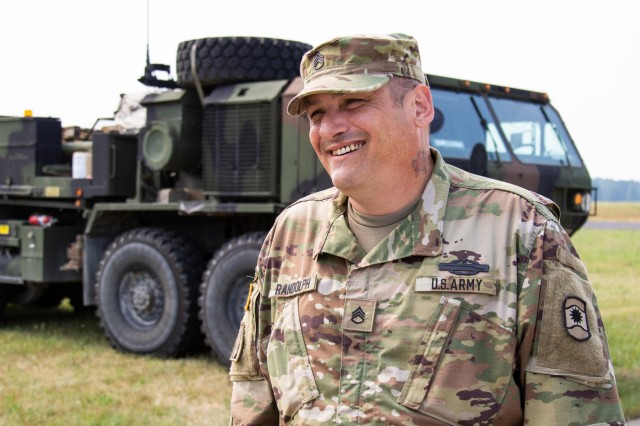 U.S. Army Reserve Staff Sgt. David Randolph, a transportation coordinator with 1172nd Movement Control Team, 446th Transportation Battalion (Movement Control), takes a break between iterations of counting vehicles, trailers, weapons and personnel belonging to convoys from 3rd Squadron, 2d Cavalry Regiment, during Saber Strike 18 at Powidz Air Base, Poland, June 2. Saber Strike is a long-standing U.S. Army Europe-led integrated training exercise that helps facilitate cooperation amongst the U.S., Estonia, Latvia, Lithuania, Poland and 19 other allied and partner nations, June 3-15 (U.S. Army Reserve photo by Spc. Daisy Zimmer, 221st Public Affairs Detachment).
