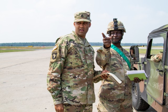 U.S. Army Reserve Staff Sgt. Orlando Stamps, a transportation coordinator with 1172nd Movement Control Team, 446th Transportation Battalion (Movement Control), obtains information from Soldiers with a convoy from 3rd Squadron, 2d Cavalry Regiment, during Saber Strike 18 at Powidz Air Base, Poland, June 2. Saber Strike is a long-standing U.S. Army Europe-led integrated training exercise that helps facilitate cooperation amongst the U.S., Estonia, Latvia, Lithuania, Poland and 19 other allied and partner nations, June 3-15(U.S. Army Reserve photo by Spc. Daisy Zimmer, 221st Public Affairs Detachment).