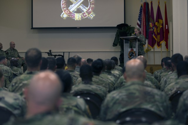 Brig. Gen. Heidi Hoyle, the 41st Chief of Ordnance, gives a speech at the opening ceremony for the 2018 Ordnance Crucible at Fort A.P. Hill, Va., June 3, 2018. EOD (Explosive Ordnance Disposal) teams are assessed on operations and associated tasks required to provide EOD support to unified land operations to eliminate and/or reduce explosive threats. The Ordnance Crucible is designed to test Soldiers' teamwork and critical thinking skills as they apply technical solutions to real world problems improving readiness of the force. (U.S. Army photo by Spc. Eric Cerami)
