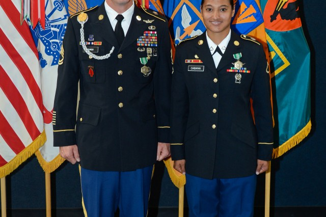 "The two Soldiers who will represent the U.S. Army Aviation Center of Excellence at the Training and Doctrine Command level Best Warrior competition in July are: USAACE Non-commissioned Officer of the Year Sgt. 1st Class Jonathan E. Bunch, senior small group leader for the maintenance branch at the Non-Commissioned Officers Academy; and Soldier of the Year Private 1st Class Tierra K. ""Lani"" Cabana, air traffic controller with A Company, 1-11th Aviation Regiment, 110th Aviation Brigade. U.S. Army photo."