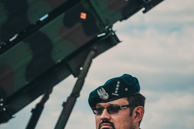 Cpt. Grzegorz Piskiewicz, the air defense officer, 12th Mechanized Division Headquarters, stands for an interview in front of the all-new patriot missile system at Saber Strike 18 near Drawsko Pomorskie, Poland, June 4, 2018. This is the first time a member of the Polish Land Forces has had access to a U.S. missile site. Strengthening our partnerships with our allies from all nations ensures our global defense posture remains reinforced.