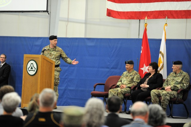 Maj. Gen. Patrick J. Reinert, commanding general of the 88th Readiness Division and senior Fort McCoy commander, provides comments during the Fort McCoy Garrison change-of-command ceremony May 19, 2018, at Fort McCoy, Wis. Col. Hui Chae Kim took command of the garrison from Col. David J. Pinter Sr. The change-of-command ceremony took place at the same time as the 2018 Armed Forces Day Open House at the installation. (U.S. Army Photo by Nick Radloff, Multi-Media/Visual Information Office, Directorate of Plans, Training, Mobilization and Security, Fort McCoy, Wis.)