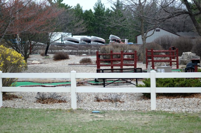 A scene of the mini-golf area at Pine View Campground is shown May 2, 2018, at Fort McCoy, Wis. The mini-golf area is to be renovated in 2018. Open year-round, Pine View Campground is part of Pine View Recreation Area. This area also includes Whitetail Ridge and Sportsman's Range. The campground is nestled in a wooded area about a quarter mile west of Fort McCoy's cantonment area and is bounded by Suukjak Sep Lake on the east and the La Crosse River on the west and south. (U.S. Army Photo by Scott T. Sturkol, Public Affairs Office, Fort McCoy, Wis.)