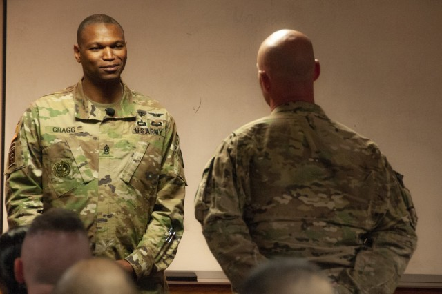 Command Sgt. Maj. Michael Gragg, command sergeant major, U.S. Army Medical Command, takes a question from a William Beaumont Army Medical Center Soldier during a Noncommissioned Officer town hall at WBAMC, May 17.
