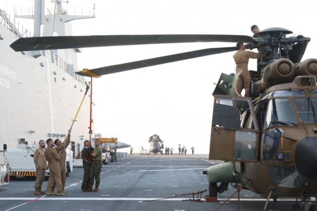 Spanish pilots assigned to Task Force Toro provide maintenance to their Cougar helicopters after twenty-four days at sea on the Spanish warship LHD Juan Carlos I (L-61) May 23, 2018 in the Arabian Gulf. TF Toro will be tactically controlled by U.S. Army 449th Combat Aviation Brigade and will be responsible for providing cargo and personnel transport in support of Operation Inherent Resolve in Iraq.