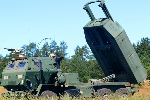 The High Mobility Artillery Rocket System raises its 6 rocket-pod launcher, called the Guided Multiple Launch Rocket System, during Saber Strike 18 at Bemowo Piskie Training Area on June 6, 2018. Saber Strike 18 is the eighth iteration of the longstanding U.S. Army Europe-led cooperative exercise designed to enhance interoperability among allies and regional partners.