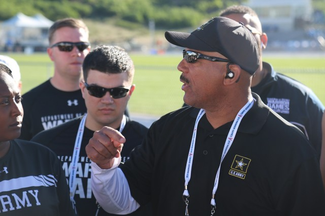 Coach Gil Wheeler, gives a speech to Team Army before events commence, Colorado Springs, Colorado, June 1, 2018. The DoD Warrior Games is an adaptive sports competition for wounded, ill, and injured service members and veterans. Approximately 300 athletes representing teams from the Army, Marine Corps, Navy, Air Force, Special Operations Command, United Kingdom Armed Forces, Canadian Armed Forces, and the Australian Defence Force will compete June 1 - June 9 in archery, cycling, track, field, shooting, sitting volleyball, swimming, wheelchair basketball, and - new this year - powerlifting and indoor rowing.  (U.S. Army photo by Staff Sgt. Kalie Frantz)