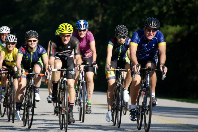 Cycling enthusiasts ride on a 101-mile course around Fort Jackson June 3 as part of this year's Victory Week celebration.