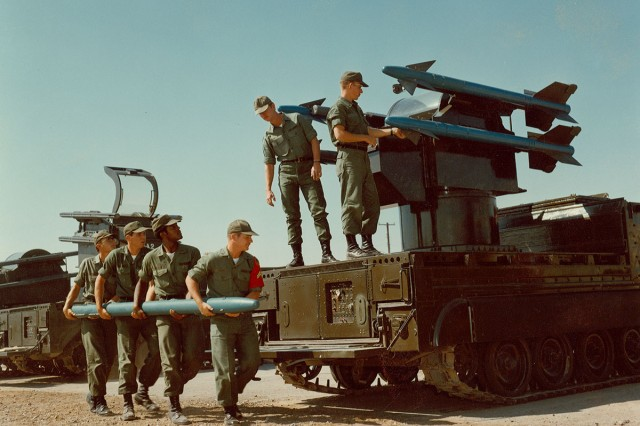 An air defense artillery crew moves an inert sidewinder missile for the MIM-72 Chaparral system during the late 1960s or early to mid-1970s, and most likely at Fort Bliss, Texas, according to Jonathan Bernstein, director, Army ADA Training Support Facility Fort Sill.  The Fires Center of Excellence will celebrates the ADA Branch's 50th birthday June 14-15, 2018.
