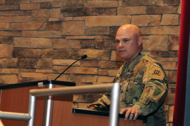 """Outgoing 30th ADA Brigade Command Sgt. Maj. John Young addresses the crowd June 1, 2018, at the change of responsibility, and his retirement ceremony. He said: """"My only regret is that I only get one shot at serving this country as a Soldier."""""""