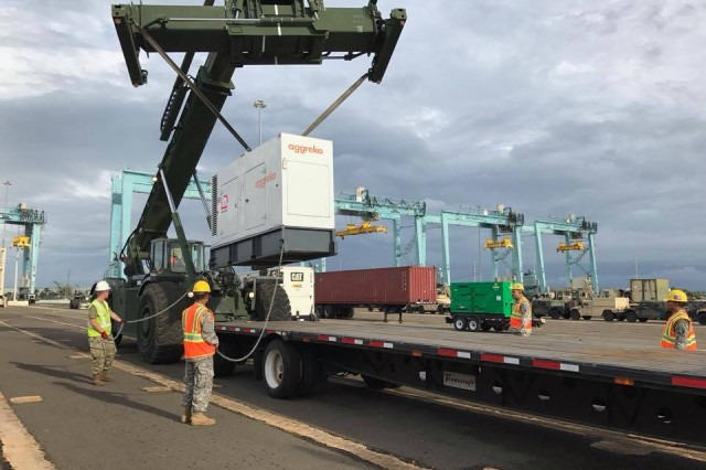 U.S. Army Reserve - Puerto Rico Soldiers perform duty at the Ponce Harbor, as they managed, staged and distributed materials to restore the electric grid across the island, in support of the U.S. Army Corps of Engineers, in the aftermath of hurricane Maria.