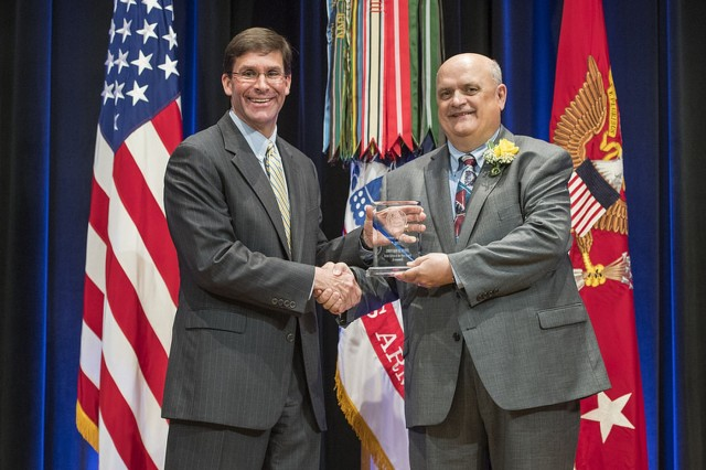 Secretary of the Army Dr. Mark T. Esper honors Army Soldiers and Civilians for their outstanding achievements in their respected fields. (U.S. Army photo Daniel Torok)