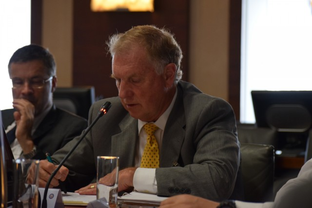 John Kizler, chief of international logistics with the 21st Theater Sustainment Command, participates in the National Territorial Commanders' Committee meeting June 6 in Brussels, Belgium. The NTCC is an informal exchange of logistical information that enhances the formal processes of host nation support.