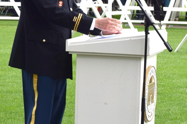 Army Lt. Col. Kelly Porter, garrison chaplain for U.S. Army Garrison Benelux, at the Margraten Memorial Day ceremony in the Netherlands, May 27, 2018.