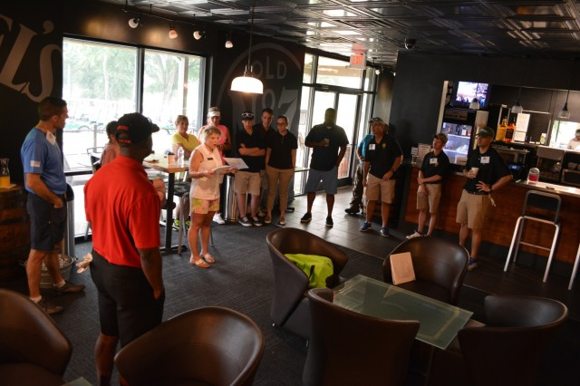 FORT BENNING, Ga. (June 8, 2018) - Megan Baumgartner, Fort Benning Survivor Outreach Services coordinator, delivers instructions before a golf scramble. Fort Benning Survivor Outreach Services hosted a Gold Star Fathers Golf Scramble and Barbecue Cookout June 2, 2018, to demonstrate the Army's continued support to Family members who have lost a service member in the line of duty. (U.S. Army photo by Bryan Gatchell, Maneuver Center of Excellence, Fort Benning Public Affairs)