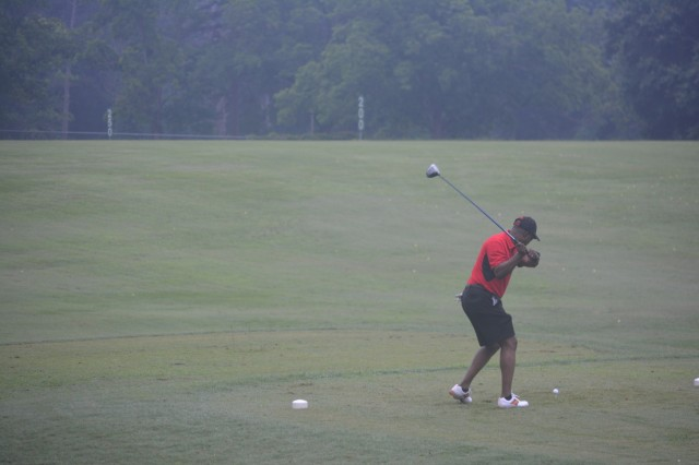 FORT BENNING, Ga. (June 8, 2018) - Command Sgt. Maj. Connie L. Rounds tees off at the Marshall Nine on the Fort Benning Golf Course. Fort Benning Survivor Outreach Services hosted a Gold Star Fathers Golf Scramble and Barbecue Cookout June 2, 2018, to demonstrate the Army's continued support to Family members who have lost a service member in the line of duty. (U.S. Army photo by Bryan Gatchell, Maneuver Center of Excellence, Fort Benning Public Affairs)