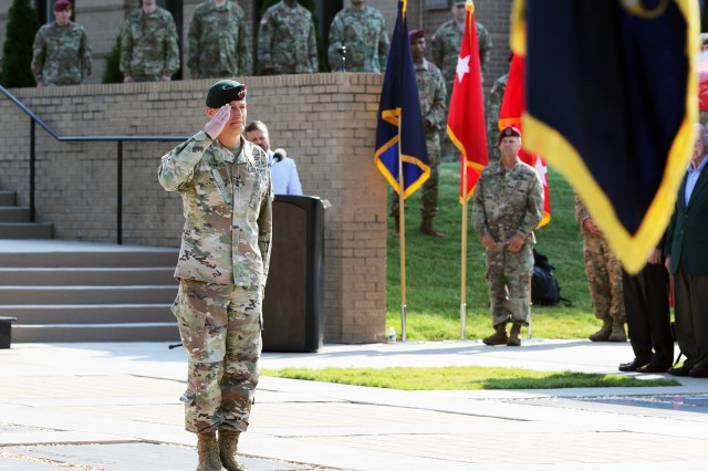 Lt. Gen. Kenneth E. Tovo relinquishes USASOC command to Lt. Gen. Francis M. Beaudette at Meadows Field, Fort Bragg, North Carolina, June 8, 2018.