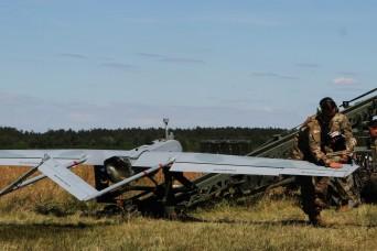 Unmanned Aerial Vehicle flies during Saber Strike 18