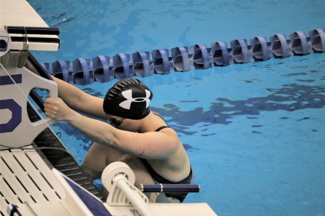 U.S. Army Spc. Angela Euson sets in the starting block for the 50 meter backstroke in her classification in the swimming event June 8, 2018, at the U.S. Air Force Academy's Cadet Gymnasium Natatorium at the 2018 Department of Defense Warrior Games. The DoD Warrior Games are conducted from June 1 - 9. It is an adaptive sports competition for wounded, ill and injured service members and veterans. Approximately 300 athletes representing teams from the Army, Marine Corps, Navy, Air Force, Special Operations Command, United Kingdom Armed Forces, Canadian Armed Forces, and the Australian Defence Force will compete in archery, cycling, track, field, shooting, sitting volleyball, swimming, wheelchair basketball, and - new this year - powerlifting and indoor rowing. (U.S. Army photo by Robert Whetstone)