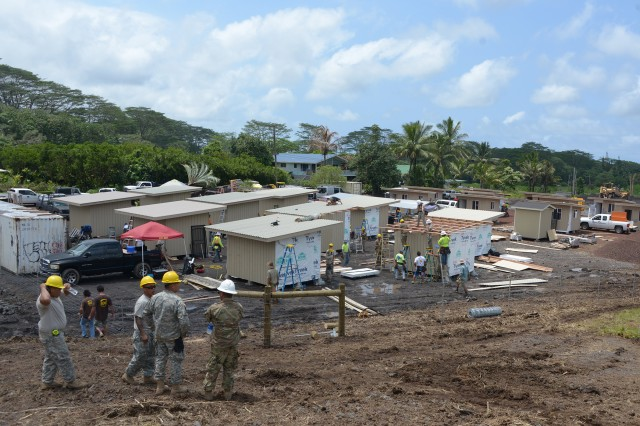 Engineers from the 230th Vertical Engineer Company, Hawaii National Guard, construct 20 micro-shelters in Pahoa, Hawaii, June 9, 2018. The project is community effort led by Hope Services Hawaii, a faith-based non-profit organization.