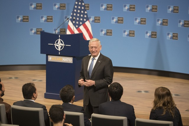 Secretary of Defense James N. Mattis holds a press conference at the North Atlantic Treaty Organization (NATO) headquarters in Brussels, Belgium on June 8, 2018.