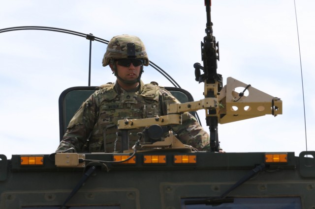 A Soldier from 1st Battalion, 623rd Field Artillery Regiment, Kentucky Army National Guard participates in training on a High Mobility Artillery Rocket System (HIMARS) during Saber Strike 18 in Kazlu Ruda, Lithuania June 10, 2018.  Saber Strike is a multinational military training exercise scheduled to run from June 3-15.