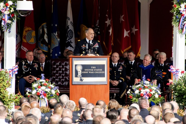 Gen. Gus Perna, commander of the Army Materiel Command, delivers the commencement address at the Army War College's graduation ceremony, June 8.