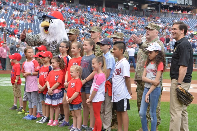 The Nationals honored 14 children from military families June 10, 2018.