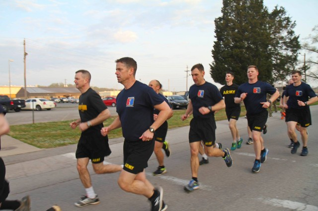 Col. John Cogbill conducts physical training with Brig. Gen. K. Todd Royar, the 101st Airborne Division Deputy Commanding General, Support, and officers of the 3rd Brigade Combat Team.