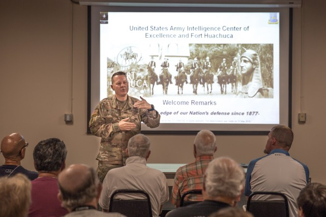 Col. Douglas Woodall, Chief of Staff of USAICoE and Fort Huachuca, welcomes Members and Families of the Brotherhood of U.S. Army Veterans Association participating in a tour of the U.S. Army Intelligence Center of Excellence and Fort Huachuca June 6.