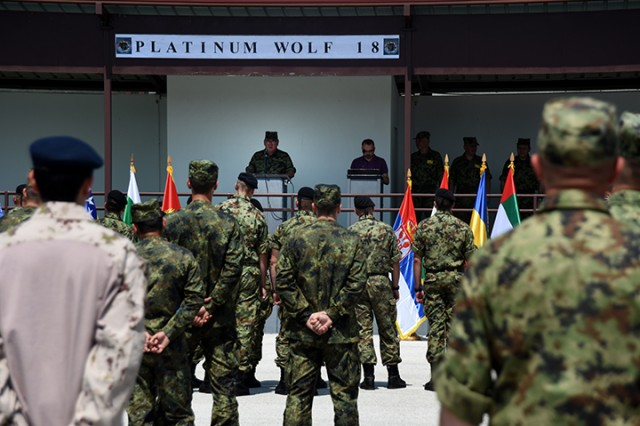 Serbian Defense Force Col. Slobodan Stopa , 4th Army Brigade Commander, presents opening remarks during the official kick-off ceremony for exercise Platinum Wolf 2018, June 11 2018. The two-week exercise brings 10 nations together, including nearly 45 members of the Ohio National Guard's 838th Military Police Company, to enhance military cooperation and interoperability at Serbia's South Base and Borovac Training Area, June 11 - 22.