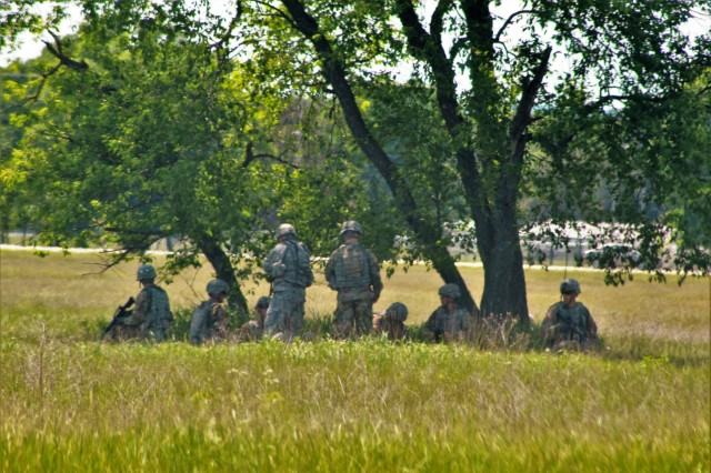 Soldiers at Fort McCoy, Wis., for training in the 86th Training Division's Combat Support Training Exercise 86-18-04 participate in a training scenario on June 7, 2018, at Fort McCoy, Wis. The exercise is part of the Army Reserve's Combat Support Training Program, or CSTP. CSTP exercises are large-scale, collective-training exercises designed to immerse units into tactical training environments that closely replicate what they might experience in operational deployments. The 86th Training Division is a tenant organization at Fort McCoy. (U.S. Army Photo by Scott T. Sturkol, Public Affairs Office, Fort McCoy, Wis.)