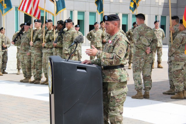 The U.S. Army Test and Evaluation Command's outgoing commander, Maj. Gen. John W. Charlton, presents his final remarks before retirement during the change of command ceremony June 7 on Aberdeen Proving Ground.