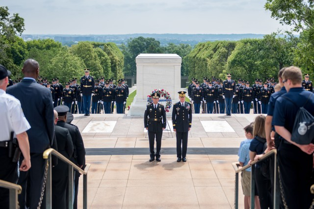 Robert D. MacLean, chief of police for the United States Park Police (left) and Maj. Gen. Michael L. Howard (right), commanding general, Joint Force Headquarters - National Capital Region and U.S. Army Military District of Washington stand in front of the Tomb of the Unknown Soldier, Arlington National Cemetery, Va., June 13, 2018 following an Army Full Honors Wreath Laying Ceremony. (U.S. Army photo by Sgt. Nicholas T. Holmes)