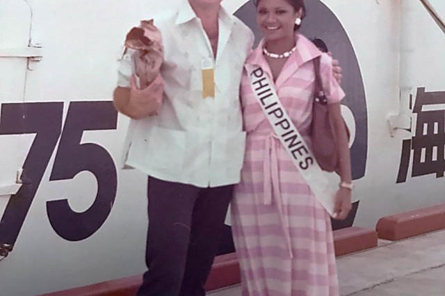 Alfred Budris with Miss Philippines at Okinawa Expo 1975 during the International Women's Beauty Pageant. (Courtesy photo)