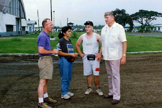 Alfred Budris discusses exercise support during Balikatan Exercise in the Philippines, 1993, at Villamar Air Base, Manila. (Courtesy photo)