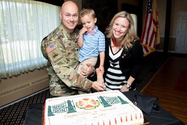 PICATINNY ARSENAL, N.J. - Lt. Col. Jeffrey Ivey, his son, Maxwell, and wife, Cassandra, are welcomed to the Picatinny Arsenal garrison after a change of command ceremony in June 2016. lvey's son and wife are commonly referred to as Max and Cassie.