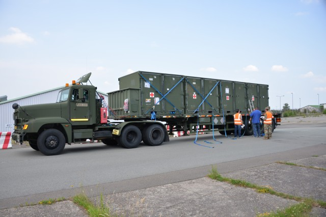 With the assistance of the 6966th Transportation Company, USAMMCE prepared, loaded, and deployed the Consequence Management Set to Landstuhl Regional Medical Center within a pre-determined time limit.