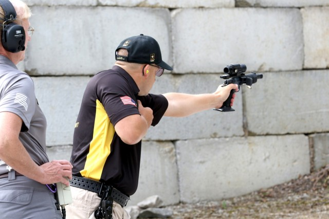 Marksmanship Unit's Service Pistol Team, fires his pistol during The Practical Event at the 2018 World Action Pistol Championships in Columbia, Missouri May 19. The three-day, four-event action pistol competition drew more than 160 competitors from eight countries and 33 states. Sokolowski not only claimed 2nd Place Overall in the World Action Pistol Championships and 1st Place in the proceeding Multigun Match, but the overall Bianchi Cup Champion title just five days later by seizing the Open Division and making history as the first shooting sports athlete in 40 years of the competition to win all three divisions-Production, Metallic and Open-in three consecutive years. (U.S. Army photo by Michelle Lunato/released)