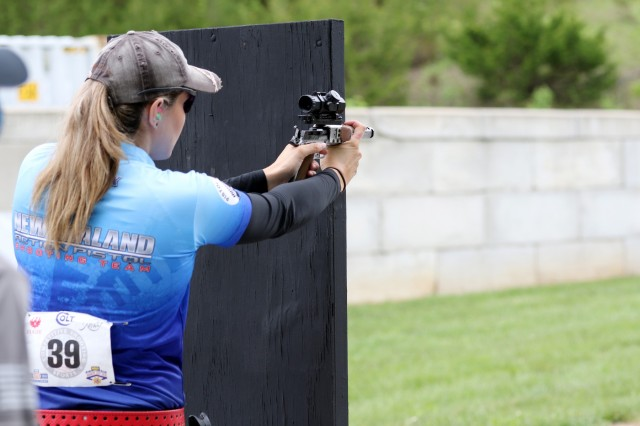 Tiffany Piper, a competitive shooter from New Zealand, fires her pistol during the Barricade Event at the 2018 World Action Pistol Championships in Columbia, Missouri May 19. After the three-day, four-event action pistol competition that drew more than 160 competitors from eight countries and 33 states, Piper placed 5th in the WAPC. (U.S. Army photo by Michelle Lunato/released)