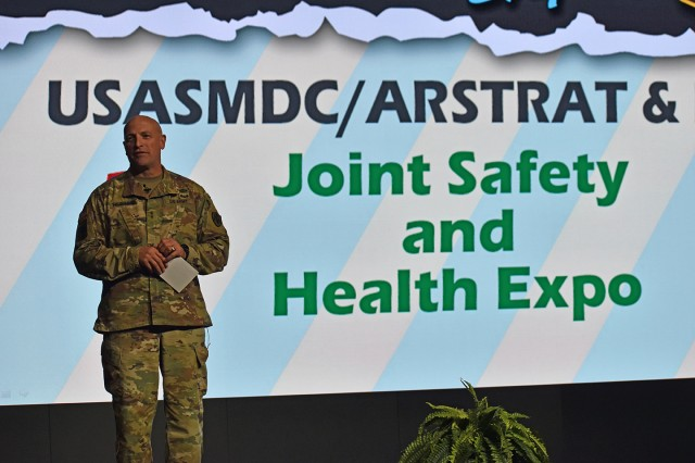 Maj. Gen. Neil Thurgood, Missile Defense Agency Director for Test, speaks at the U.S. Army Space and Missile Defense Command/Army Forces Strategic Command and MDA's 10th annual Joint Safety Awareness Day and Health Expo June 7 at the Von Braun Complex on Redstone Arsenal, Alabama. The event was coordinated in conjunction with USASMDC/ARSTRAT's 7th annual Command Safety and Occupational Health Expo in Colorado Springs, Colorado, also on June 7.
