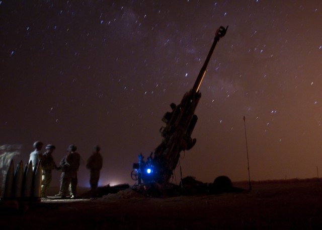 Coalition fire Artillery at ISIS during Operation Roundup