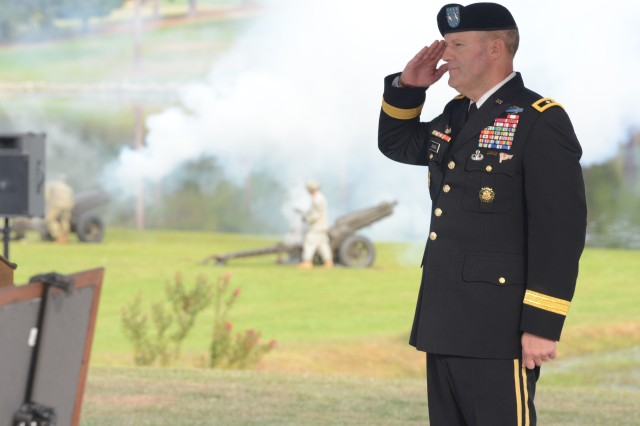 "Maj. Gen. John ""Pete"" Johnson, Fort Jackson commander, salutes after being promoted to major general. Johnson will be relinquishing command of the installation and the Army Training Center to Brig. Gen. Milford Beagle June 22 in a ceremony at Victory Field"