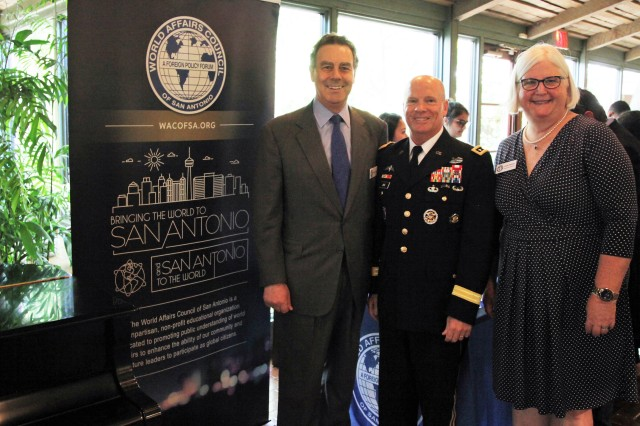 IMCOM Commander Lt. Gen. Kenneth R. Dahl (center) was a guest speaker June 14 at the  World Affairs Council of San Antonio, represented by Leslie Palmer (right), Executive Director, and Nicolas Hollis, 2018 Chairman.
