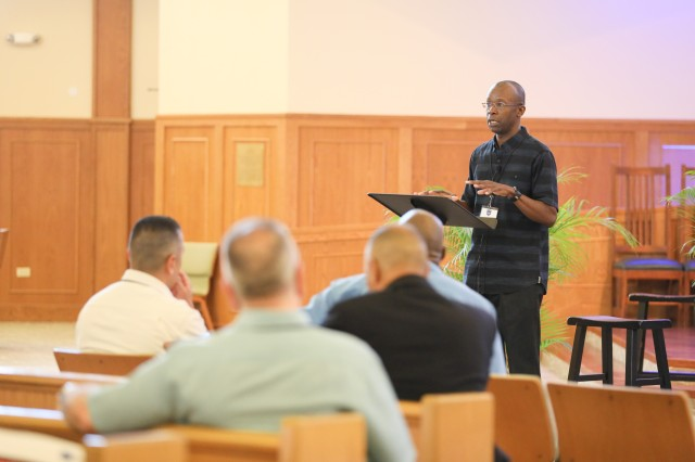 Command Chaplain for U.S. Army Pacific, Col. William Green, gives opening remarks during USARPAC's Chaplaincy Annual Sustainment Training, June 6, 2018, at the Marine Corps Base Chapel in Kaneohe, Hawaii. The topic for the annual three-day training event was 'Strengthening the Soul of the Army'.